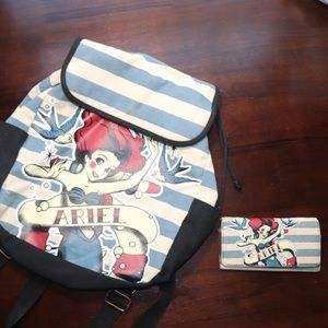 ✨Ariel Little Mermaid✨ 2pc Backpack and Wallet Set